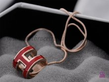 "Hermes 3D Pop ""H"" logo Snake Bone Red Necklace in Pink Gold"