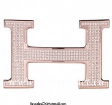 Hermes Reversible Belt 18k Rose Gold Plated H Buckle with Full Diamonds