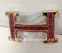 Hermes Reversible Belt 18k Rose Gold With Red Diamonds H Buckle