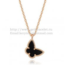 Van Cleef Arpels Lucky Alhambra Butterfly Necklace Pink Gold With Black Onyx Mother Of Pearl