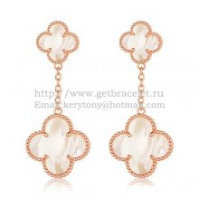 Van Cleef & Arpels Magic Alhambra Earrings Pink Gold With White Mother Of Pearl