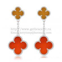 Van Cleef & Arpels Magic Alhambra Earrings White Gold With Tiger's Eye Carnelian