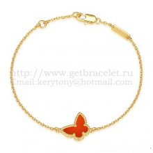 Van Cleef & Arpels Sweet Alhambra Butterfly Bracelet Yellow Gold With Carnelian Mother Of Pearl