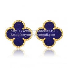Van Cleef & Arpels Sweet Alhambra Earrings 15mm Yellow Gold With Lapis Stone Mother Of Pearl