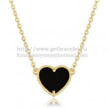 Van Cleef Arpels Sweet Alhambra Heart Pendant Yellow Gold With Black Onyx Mother Of Pearl