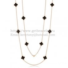 Van Cleef & Arpels Vintage Alhambra Necklace Pink Gold 10 Motifs With Black Agate Mother Of Pearl