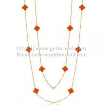 Van Cleef & Arpels Vintage Alhambra Necklace Yellow Gold 10 Motifs With Carnelian Mother Of Pearl