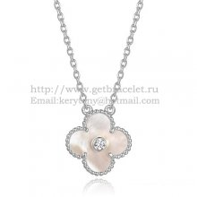 Van Cleef & Arpels Vintage Alhambra Pendant White Gold With White Mother Of Pearl Round Diamonds