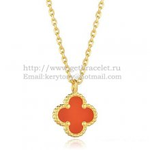 Van Cleef & Arpels Sweet Alhambra Pendant Yellow Gold With Carnelian Mother Of Pearl 9mm