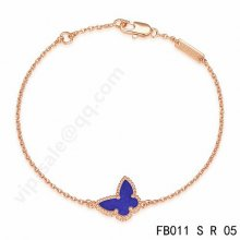 Replica Van Cleef & Arpels Sweet Alhambra Butterfly Bracelet In Pink Gold With Lapis Lazuli
