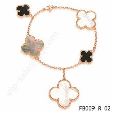 Cheap Van Cleef & Arpels Magic Alhambra Bracelet In Pink Gold With 5 Stone Clover