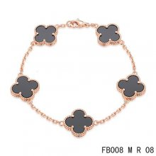Fake Van Cleef & Arpels Alhambra Bracelet In Pink With 5 Black Clover