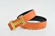 Hermes Reversible Belt Orange/Black Classics H Togo Calfskin With 18k Gold With Logo Buckle
