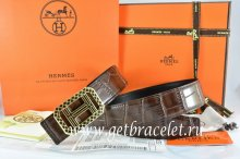 Hermes Reversible Belt Brown/Black Crocodile Stripe Leather With18K Gold Lace Strip H Buckle