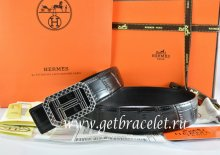 Hermes Reversible Belt Black/Black Crocodile Stripe Leather With18K Silver Lace Strip H Buckle