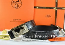 Hermes Reversible Belt Black/Black Crocodile Stripe Leather With18K Gold Coach Buckle