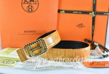 Hermes Reversible Belt Orange/Orange Crocodile Stripe Leather With18K Gold Lace Strip H Buckle