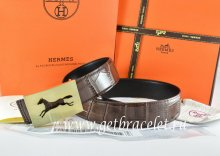 Hermes Reversible Belt Brown/Black Crocodile Stripe Leather With18K Gold Hollow Horse Buckle