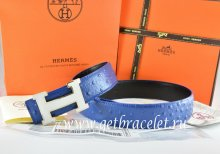 Hermes Reversible Belt Blue/Black Ostrich Stripe Leather With 18K White Silver H Buckle