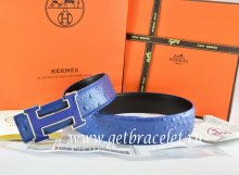 Hermes Reversible Belt Blue/Black Ostrich Stripe Leather With 18K Blue Gold Width H Buckle