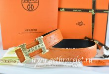 Hermes Reversible Belt Orange/Black Ostrich Stripe Leather With 18K Gold Stripe Logo H Buckle