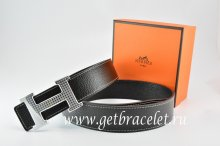 Hermes Reversible Belt Black/Black Togo Calfskin With 18k Gold Wave Stripe H Buckle