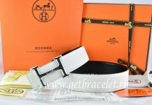 Hermes Reversible Belt White/Black Togo Calfskin With 18k Silver Smooth H Buckle
