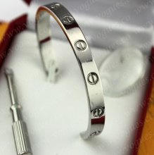 Cartier Semi-Open Love Bracelet White Gold B6032417