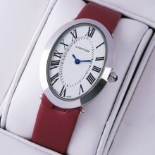 Cartier Baignoire steel womens watch replica crimson satin strap