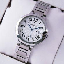 Ballon Bleu de Cartier medium quartz watch replica date stainless steel