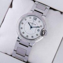 Ballon Bleu de Cartier medium steel replica watch with two rows diamonds on bezel