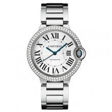 Ballon Bleu de Cartier medium swiss automatic watch 18kt white gold diamonds bezel