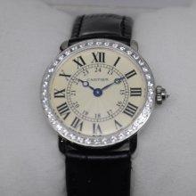 Cartier Ronde Louis small diamond swiss watch for women steel black leather strap