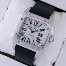 Cartier Santos 100 large swiss automatic watch W20073X8 steel black alligator strap