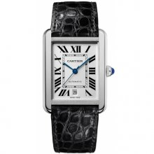 Cartier Tank Solo extra large mens watch W5200027 stainless steel black leather strap
