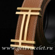 Hermes Reversible Belt 18K Gold Fashion H Brushed Buckle