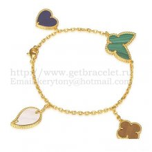 Van Cleef & Arpels Lucky Alhambra 4 Motifs Bracelet Yellow Gold With Stone Combination 005