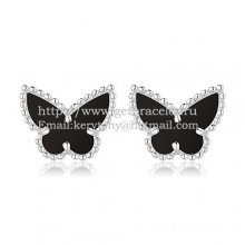 Van Cleef & Arpels Sweet Alhambra Butterfly Earrings White Gold With Black Onyx Mother Of Pearl