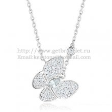Van Cleef Arpels Two Butterfly Necklace White Gold Stone Combination With Pave Diamonds