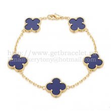 Van Cleef & Arpels Vintage Alhambra Bracelet 5 Motifs Yellow Gold With Lapis Mother Of Pearl