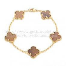 Van Cleef & Arpels Vintage Alhambra Bracelet 5 Motifs Yellow Gold With Tiger's Eye Mother Of Pearl