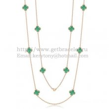 Van Cleef & Arpels Vintage Alhambra Necklace Pink Gold 10 Motifs With Malachite Mother Of Pearl