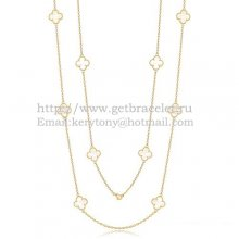 Van Cleef & Arpels Vintage Alhambra Necklace Yellow Gold 10 Motifs With White Mother Of Pearl
