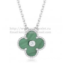 Van Cleef & Arpels Vintage Alhambra Pendant White Gold With Malachite Mother Of Pearl Round Diamonds