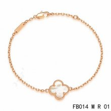 Replica Van Cleef & Arpels Sweet Alhambra Bracelet In Pink Gold With White Mother-Of-Pearl