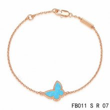 Imitation Van Cleef & Arpels Sweet Alhambra Butterfly Bracelet In Pink Gold With Turquoise