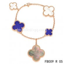 Cheap Van Cleef & Arpels Magic Alhambra Bracelet In Pink With 5 Stone Clover
