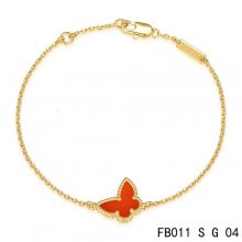 Fake Van Cleef & Arpels Sweet Alhambra Bracelet In Yellow With Red Butterfly
