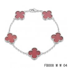 Cheap Van Cleef & Arpels Alhambra Bracelet In White With 5 Red Clover