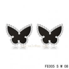 Cheap Van Cleef & Arpels Butterflies Onyx White Gold Earrings